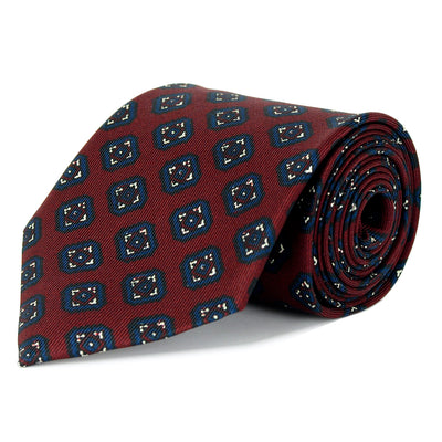 Claret and Navy Medallion Silk Twill Tie