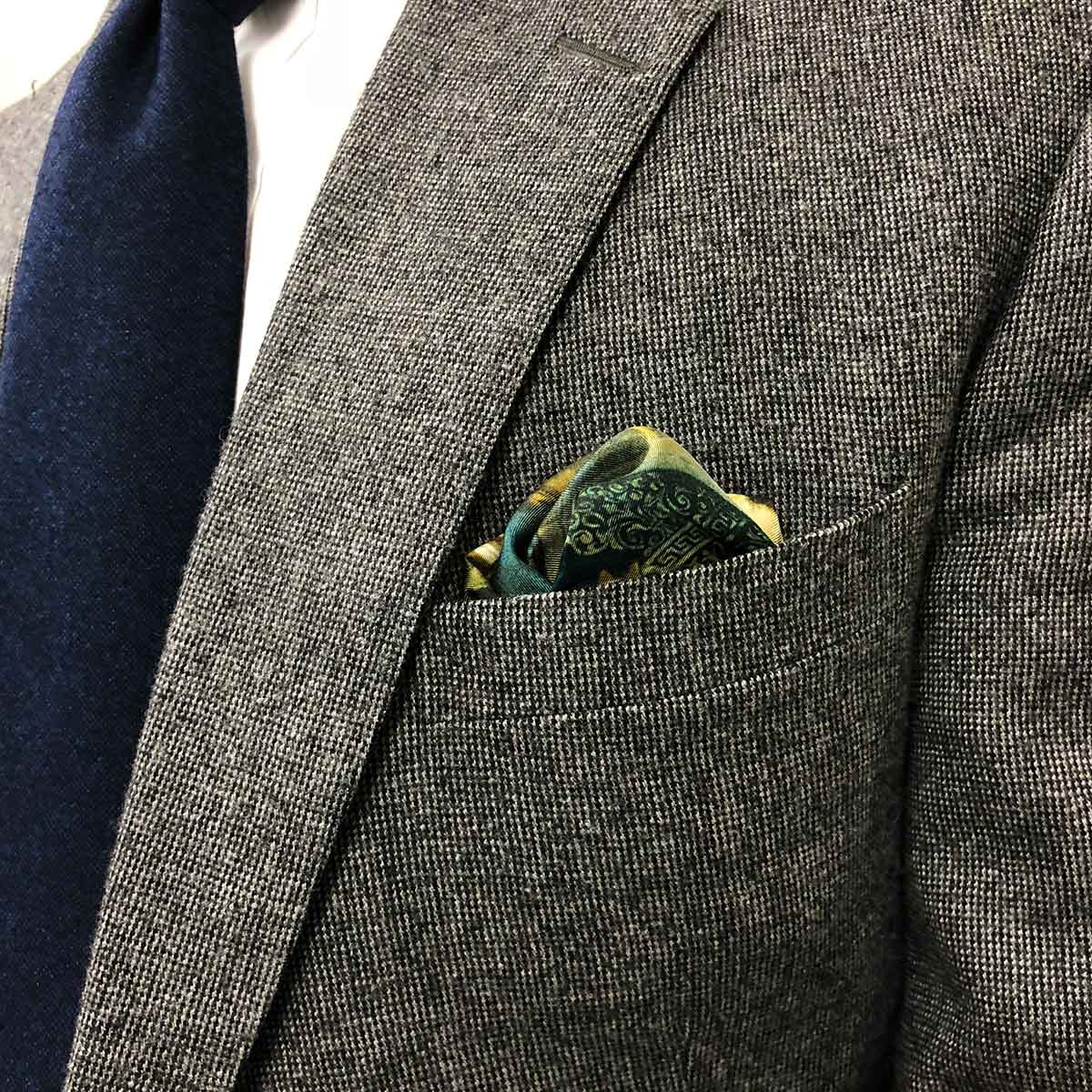 Men/'s Brown With Green Trim Pocket Square