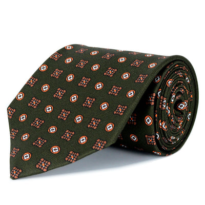 Forest Green and Monarch Orange Silk Twill Tie