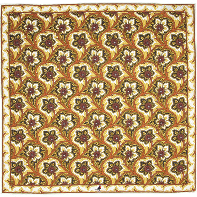 Gold, Charcoal and Ivory Persian Flower Paisley Pocket Square