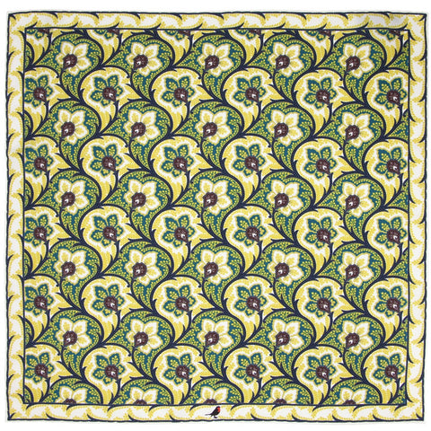 Gold, Sea Green and Maroon Persian Flower Paisley Pocket Square