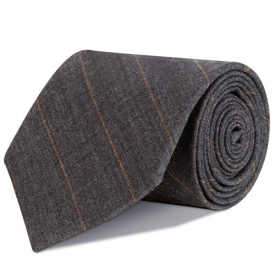 Grey and Tangerine Pinstripe Super Fine Merino Wool Tie