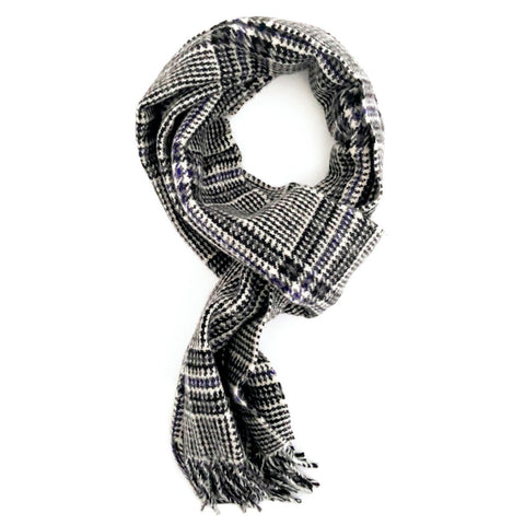 Grey and Cobalt Blue Cashmere Scarf