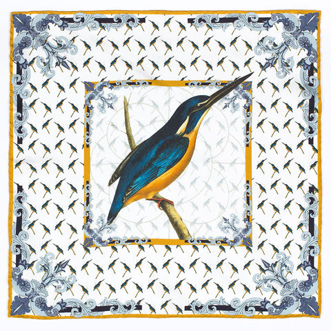 Kingfisher Swainson Silk Pocket Square