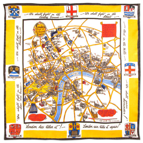London WWII Bombings Museum of London Pocket Square