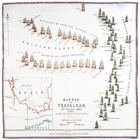 Map of the Battle of Trafalgar Pocket Square