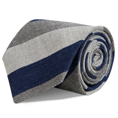 Navy and Grey Three Stripe Wool Tie