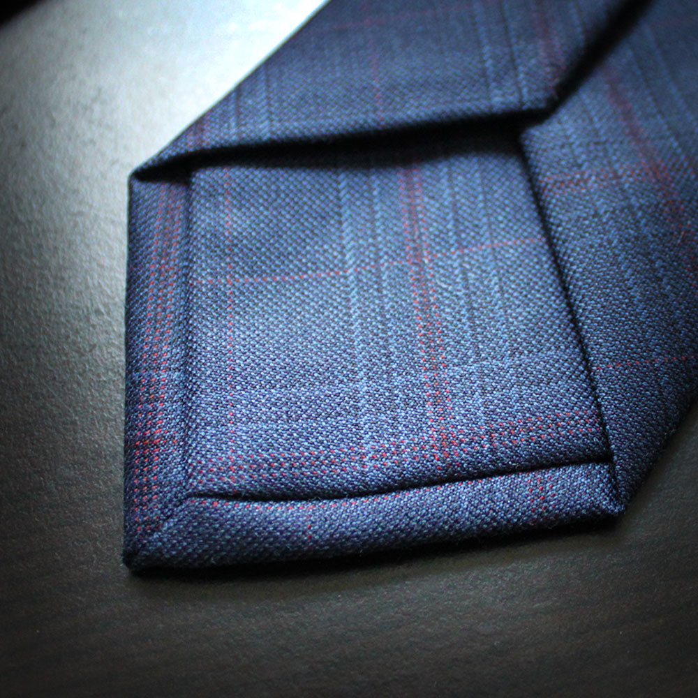 Navy and Red Check Wool Tie Rampley & Co tTHnf