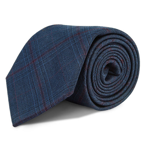Navy and Red Check Wool Tie