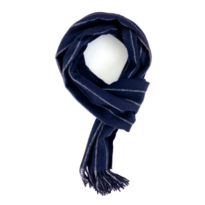 Navy Blue and Grey Chalk Stripe Cashmere Scarf