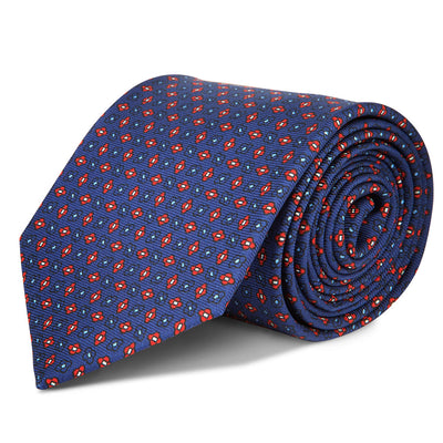 Red & Navy Repeat Silk Tie
