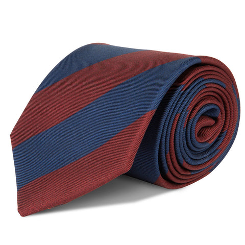 Red Navy Striped Silk Tie