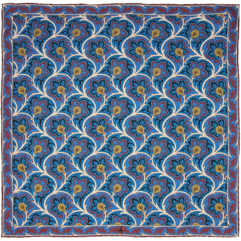 Steel Blue, Maroon and Cream Persian Flower Paisley Pocket Square