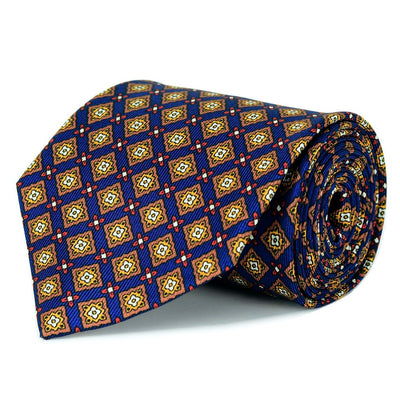Steel Blue and Gold Silk Twill Tie