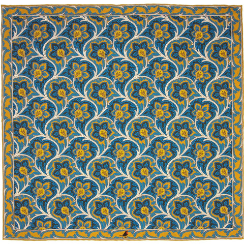 Tawny Orange, Royal Blue and Cream Persian Flower Paisley Pocket Square