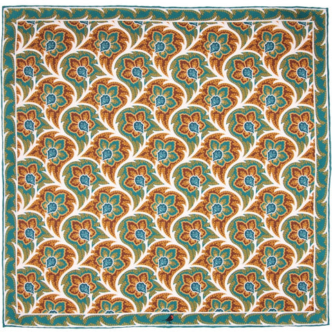 Teal and Maroon Persian Flower Paisley Pocket Square