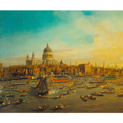 The River Thames with St Pauls Cathedral on Lord Mayors Day Canaletto Silk Jacket Lining
