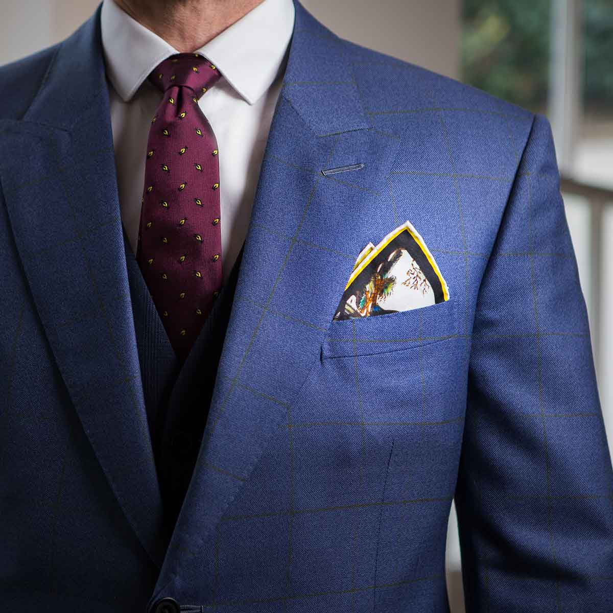 Mens jacket pocket handkerchief -  Two Trinities Stained Glass Pocket Square Fold 2