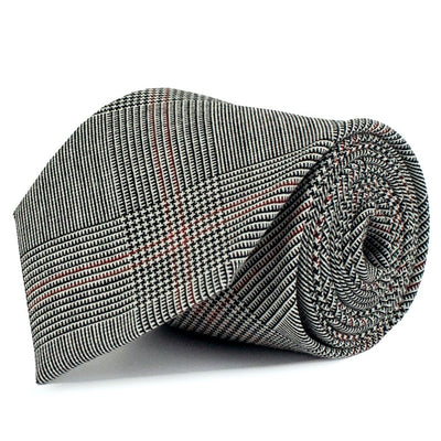 White, Black and Red Glen Check Merino Wool Tie