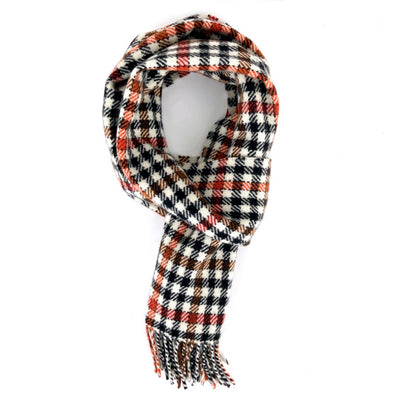 Burnt Orange & Hazel Gingham Cashmere Scarf