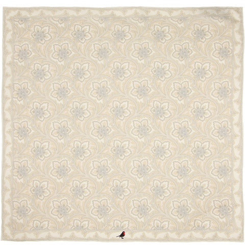 White and Ivory Persian Flower Paisley Pocket Square