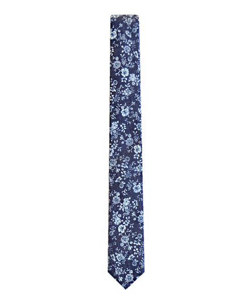 Cotton tie in navy floral denim