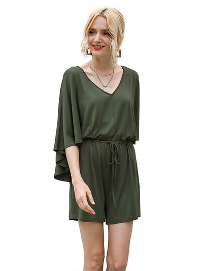 V Neck Bat Sleeves Drawstring Waist Jumpsuit