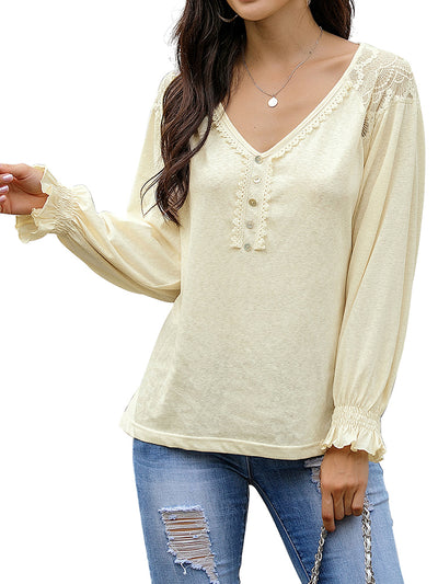 Women Lace Slub Loose Blouses