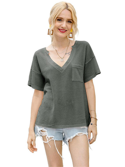 Waffle Knit V Neck Casual Loose Sweater
