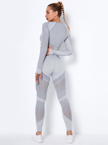 Seamless Hollow Knit Two Piece Outfits
