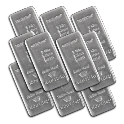 10x 1kg Metalor Cast Silver Bar