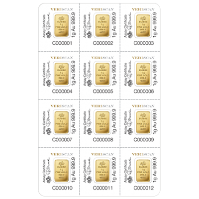 12x 1 Gram PAMP Fortuna Veriscan Gold Bar Multigram