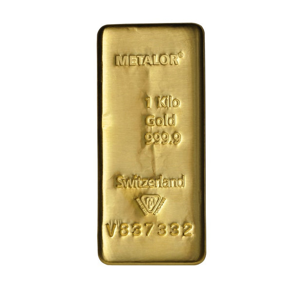 1Kg Metalor Cast Gold Bar