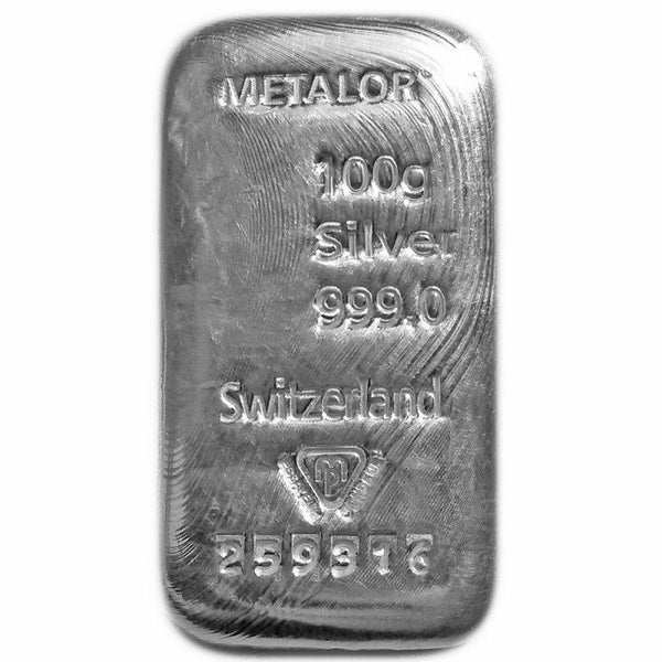 100 Gram Metalor Cast Silver Bar
