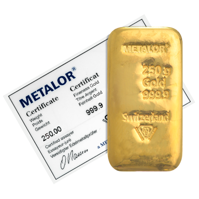 250 Gram Metalor Cast Gold Bar