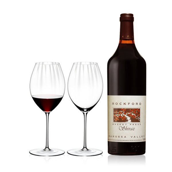 ROCKFORD BASKET PRESS SHIRAZ & RIEDEL GLASSES