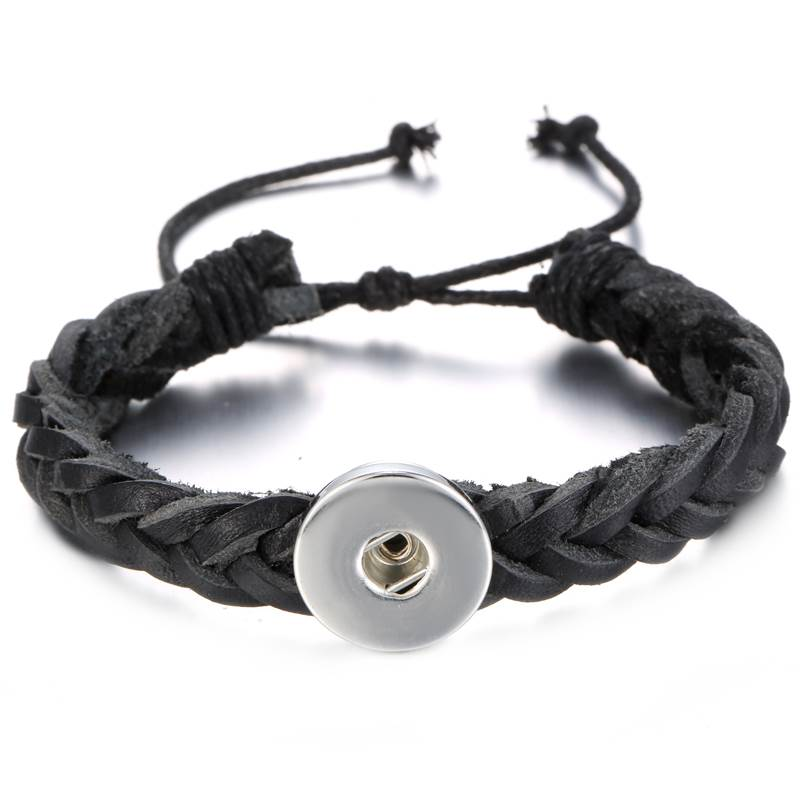 18/20mm Black Woven Slide Adjustable Bracelet