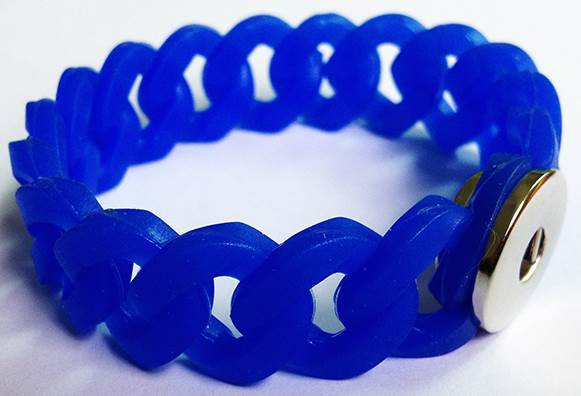 18/20mm Silicone Stretch Single Snap Bracelet - Dark Blue