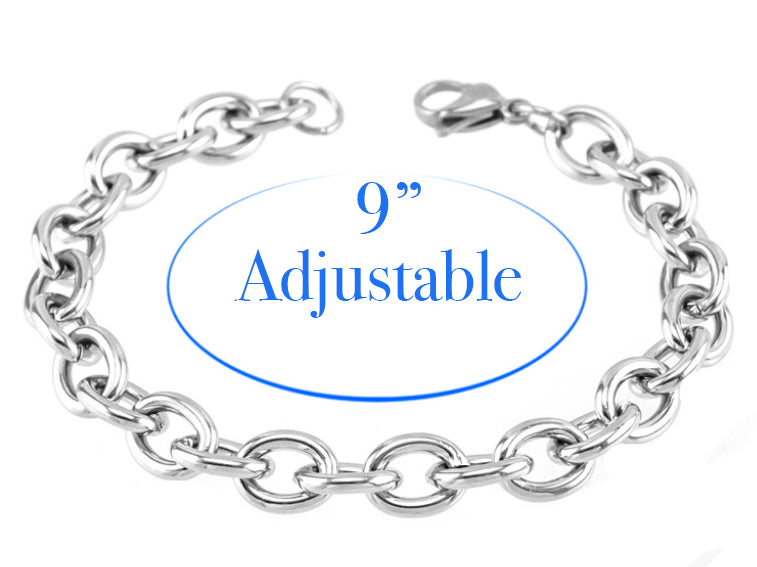 Adjustable Stainless Steel Charm Bracelet with 12mm Snap Dangle