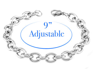 Adjustable Stainless Steel Charm Bracelet with 18/20mm Snap Dangle