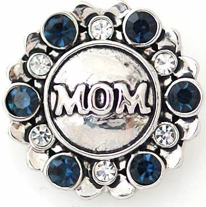 18/20mm Blue & Clear Crystal Mom Snap