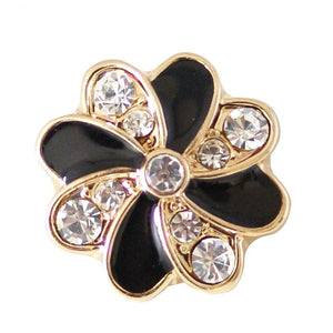 18/20mm Gold & Black & Crystal Swirl Snap