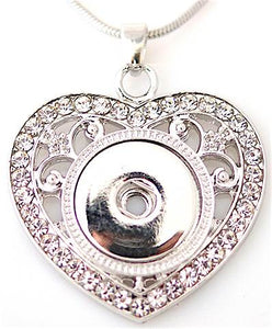 18/20mm Crystal Embellished Vintage Heart Necklace