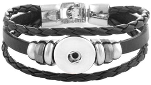 18/20mm Twist Braid Leather BlacK Bracelet