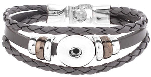 18/20mm Twist Braid Leather Gray Bracelet
