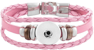 18/20mm Twist Braid Leather Pink Bracelet