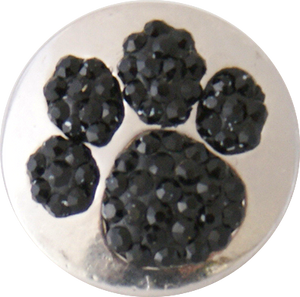 18/20mm Black Crystals Paw Print Snap