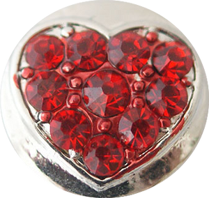 12mm Red Bling Crystal Heart Snap