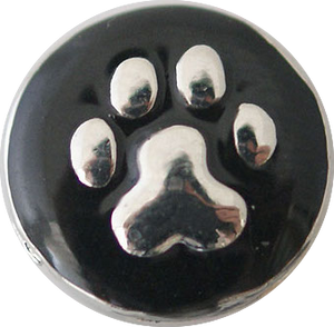 12mm Silver Paw Print Snap