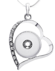18/20mm Crystal and Silver Open Heart Necklace